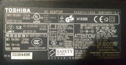 Cargador Laptop Toshiba 15v 5a