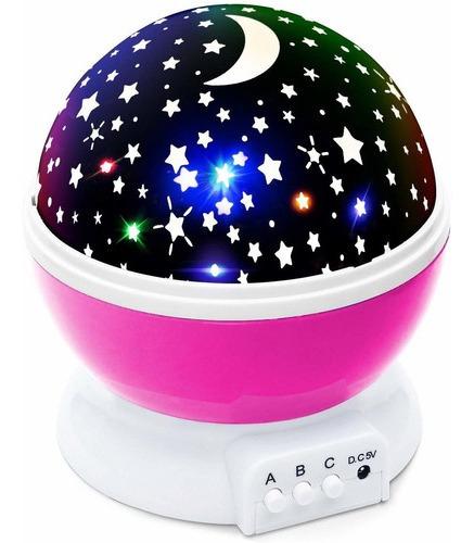Luz Nocturna Para Bebé Moon Star, Proyector, Deco, Rosado