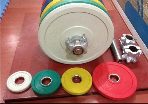 Barra Olímpica, Collarines 5kg, Par De Discos 10kg Combo 4