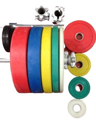 Barra Olímpica, Collarines 5kg, Par De Discos 10kg Y 5kg