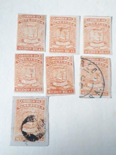 Estampillas Medio Real De 1861 Lote De 7 Oportunidad Única