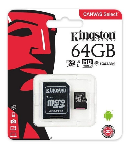 Memoria Micro Sd Hc 64gb Kingston Canvas Original Sellada