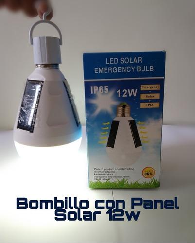 Bombillo Led Con Panel Solar 12w