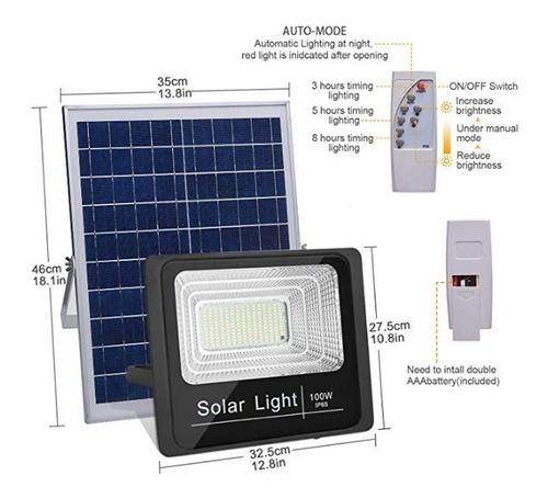 Reflector Led Con Panel Solar 100w Lampara Control Remoto