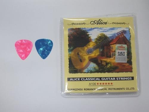 Juego De Cuerdas Alice Guitarra Clasica Con 2 Pajuelas