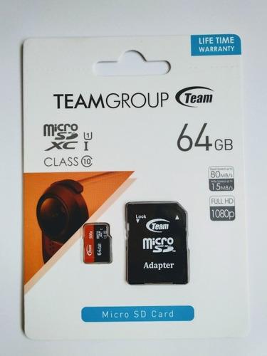 Memoria Micro Sd 64gb Clase 10 Teamgroup (uhs-1) Full Hd