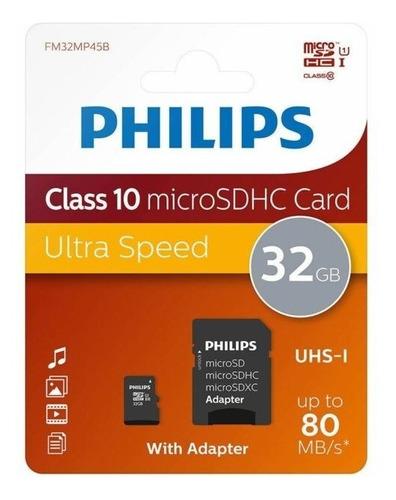 Micro Sd De 32 Gb Marca Phillips Con Adaptador