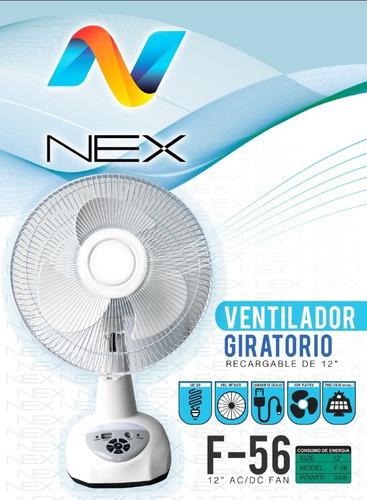 Ventilador Recargable Nex 12 C/iluminacion Y Puerto De Carga