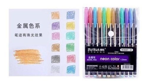 Blister Boligrafos De Gel Metalizado 12 Colores