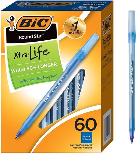 Caja 60 Bolígrafos Color Azul Marca Bic Importados De Usa