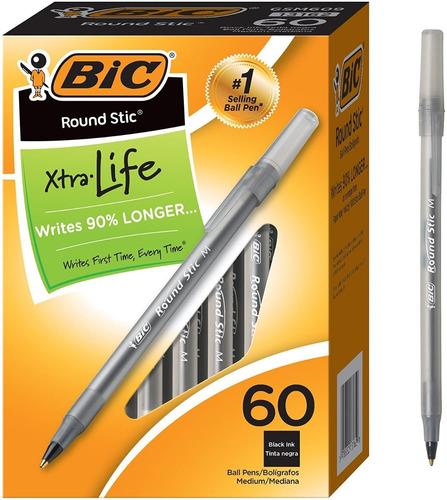 Caja 60 Bolígrafos Color Negro Marca Bic Importados De Usa