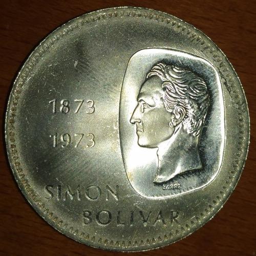 Moneda De Plata Doblón Simón Bolívar 1873-1973