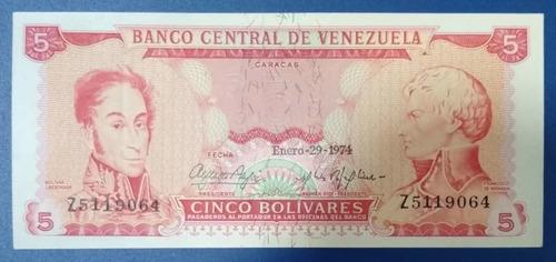 Billete De 5 Bolívares Z7 Del 29 De Enero De