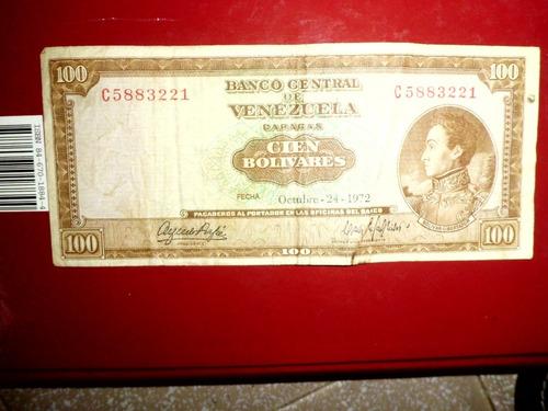 Billetes De 100 Bolivares Antiguos De Los Años