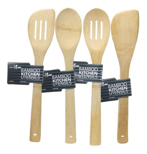 Utensilio Cocina Juego Espatulas Y Cucharas Bambu Organico