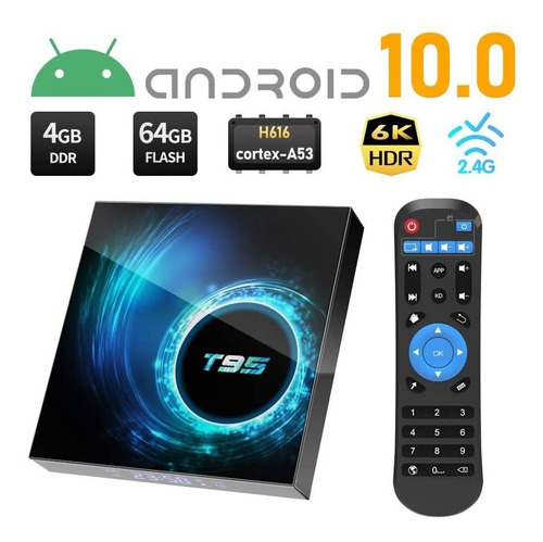 Tv Box Android 10.0 T95 Android Tv 4gb Ram 64gb Rom Wifi